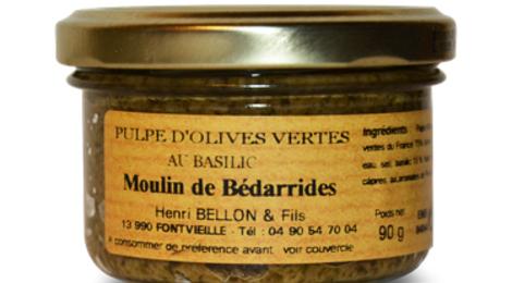 Moulin de Bédarrides, Pulpe d'olives vertes au basilic