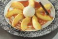 Pomme et crème caramel
