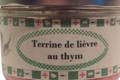 Conserverie Aymeric. Terrine de lièvre au thym