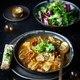 Consommé aux champignons, ravioles de Romans, tartine de Fourme d'Ambert et 4 Saveurs Gourmandes Bonduelle