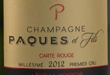 Champagne Paques Et Fils. Carte rouge. Premier cru, millésimé