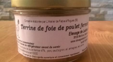 Elevage de Lasfons. terrine de foie de poulets fermiers