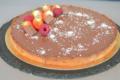 Tarte caramel onctueux , coco et ganache chocolat au lait