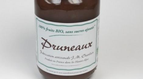 Confiturerie Chatelain. 100% fruits bio. Pruneaux