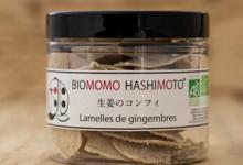 Biomomo Hashimoto. Lamelles de gingembre sucrées