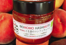 Biomomo Hashimoto. Confiture pêche gingembre