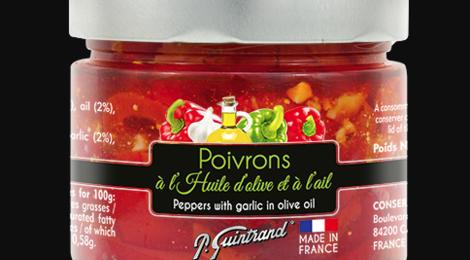 Conserves Guintrand. Poivrons à l'huile d'olive et à l'ail