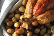 Jeusselin. poulet fermier pommes de terre cuites au four