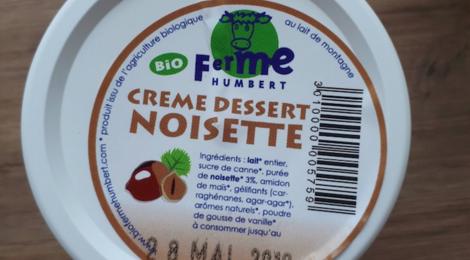 Ferme Humbert. Crème dessert noisette