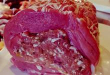 Rôti de veau, farci à la forestière (aux cèpes) et à la pistache