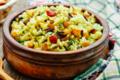 Salade de riz complet au safran, poivron et pois chiches