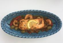 Assya traiteur. Tajine saumon crevettes