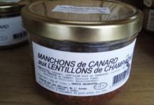 Les délices de l'Arnes. Canard Manchons aux Lentillons.