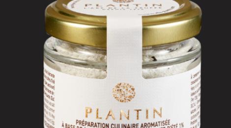 Plantin. Préparation culinaire aromatisée à base de sel de Guérande et de truffe d'été 1%