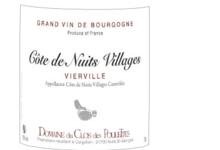 """Domaine du Clos des Poulettes. Côte de Nuits Villages """"vierville"""""""