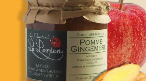 Confiture Pomme-Gingembre 250g.