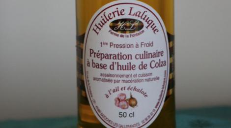 Huilerie Laluque. Huile vierge de colza à l'ail échalote